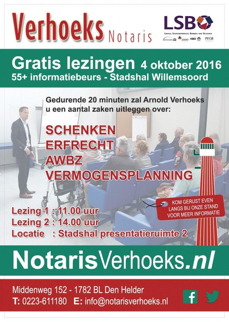 Notaris Verhoeks Gratis Lezingen 55+ beurs flyer 2016