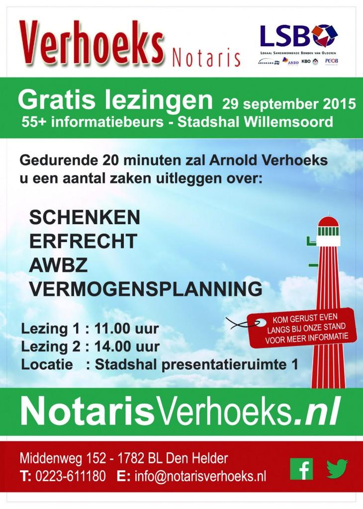 Notaris Verhoeks Gratis Lezingen 55+ beurs flyer